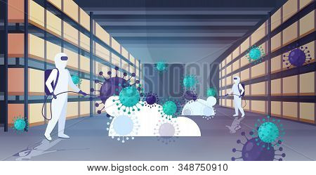 Specialists In Hazmat Suits Cleaning Disinfecting Coronavirus Cells Epidemic Mers-cov Warehouse Inte