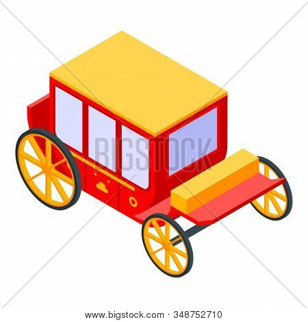 Red Gold Carriage Icon. Isometric Of Red Gold Carriage Vector Icon For Web Design Isolated On White