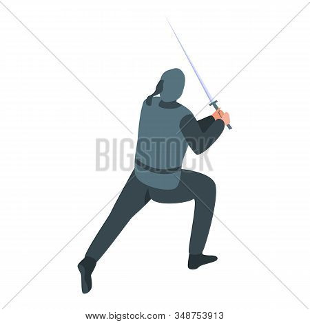 Japan Ninja Icon. Isometric Of Japan Ninja Vector Icon For Web Design Isolated On White Background