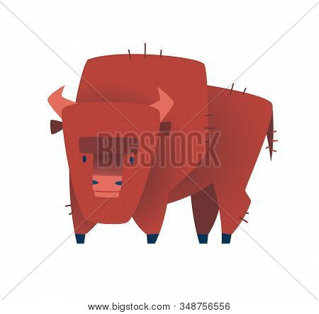 Brown Zubr Buffalo Bison On White Background. Vector Illustration.