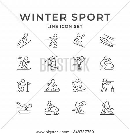 Set Line Icons Of Winter Sport Isolated On White. Hockey, Ski Race, Skiing, Biathlon, Skeleton, Bobs