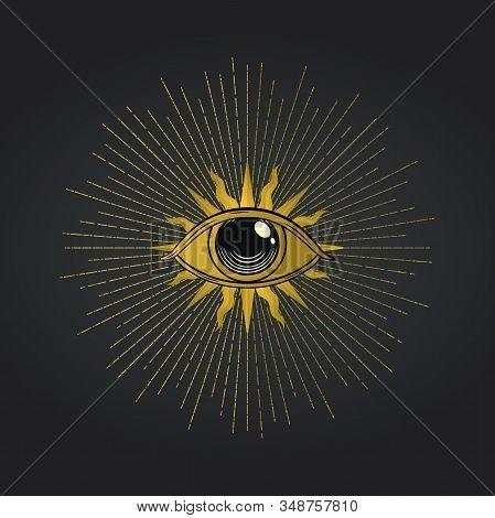 Vector Occult Symbols - Masonic Eye, Illuminati Element. Mystical Decoration