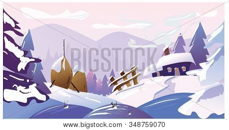 Winter Landscape. Mountains, Trees, Snow, Houses, Fence, Hay. Vector Illustration.