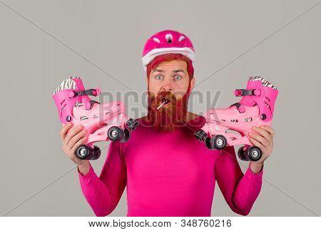 Bearded Man With Roller Skating. Roller Skater. Rollerblading. Handsome Man With Roller Skates. Inli