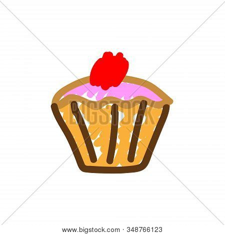 Cherry Muffin In A Deliberately Childish Style. Child Drawing. Sketch Imitation Painting Felt-tip Pe