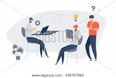 Group Of People Characters Are Thinking Over An Idea Online News, Social Networks, Virtual Communica