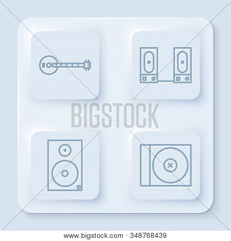 Set Line Banjo, Stereo Speaker, Stereo Speaker And Cd Or Dvd Disk. White Square Button. Vector