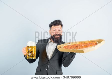 Pizza Time. Fastfood. Bearded Man With Tasty Pizza And Beer In Hands. Smiling Man With Beard Holds D