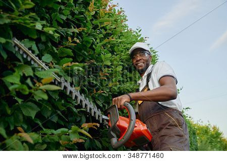 Happy Afro American Guy Dressed In Special Brown Overall, Protective Glasses And Summer Hat Trimming