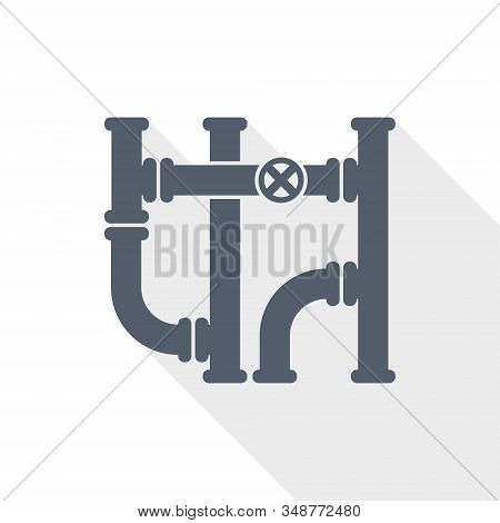 Pipeline Vector Icon, Tube, Pipe And Industrial Concept Flat Design Illustration