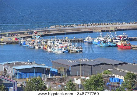 Wladyslawowo / Poland. 24 June 2019:  City Harbor With Many Moored Boats And Ships. Ships And Boats
