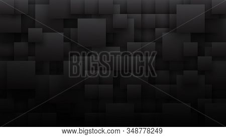 Conceptual 3d Different Size Square Blocks Technology Dark Gray Abstract Background. Science Tech Pa