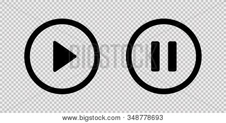Play And Pause Vector Button Black Icons Isolated On Transparent Background. Black Vector Media Play