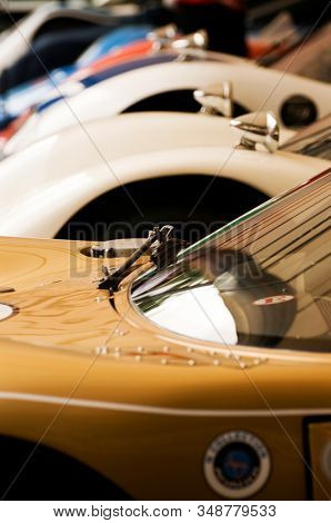 Vintage racing cars in a row