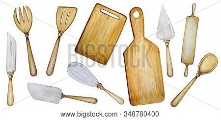 Hand Drawn Wooden Kitchen Accessories Set For Baking Watercolor Illustration, Isolated On White Back