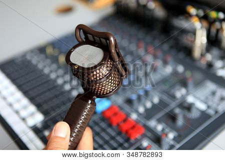 Retro Microphone Equipment For Voice Over Recording Or Radio Station Show And Speech Communication