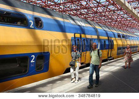 Zaandam, Netherlands - July 9, 2017: Nederlandse Spoorwegen (ns) Train In Zaandam. Ns Is The Princip