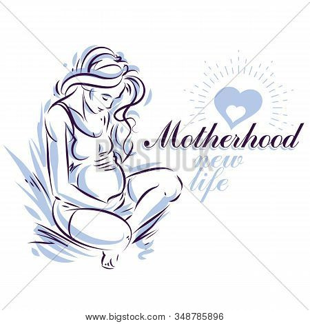 Pregnant Woman Elegant Body Silhouette, Sketchy Vector Illustration. Obstetrics And Gynecology Clini