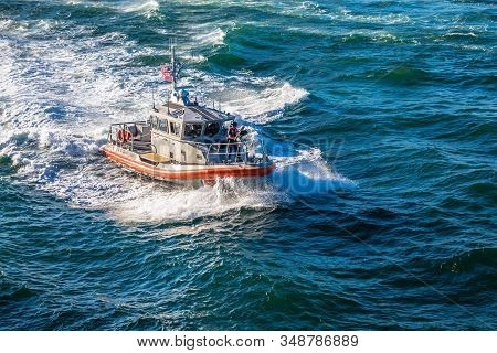Fort Lauderdale, Florida - February 17, 2018: The United States Coast Guard Is The Coastal Defense A