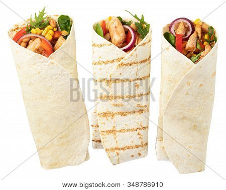 Tortilla Wrap With Fried Chicken Meat And Vegetables Isolated On White Background.