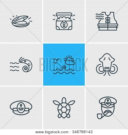 Illustration Of 9 Nautical Icons Line Style. Editable Set Of Captain, Cuttlefish, Captains Cap And O