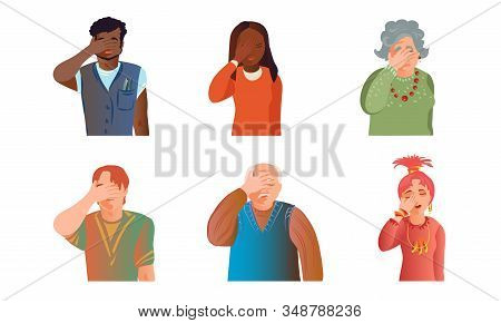 Young And Old Men And Women Expressing Headache Vector Illustration