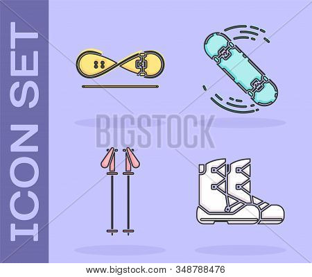 Set Boots, Skateboard Trick, Ski Poles And Skateboard Trick Icon. Vector