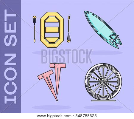 Set Bicycle Wheel, Rafting Boat, Pegs For Tents And Surfboard Icon. Vector