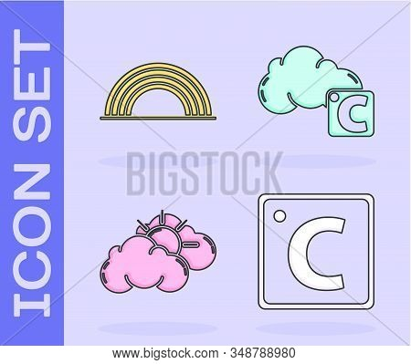 Set Celsius, Rainbow With Clouds, Sun And Cloud Weather And Celsius And Cloud Icon. Vector