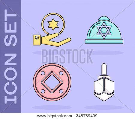 Set Hanukkah Dreidel, Jewish Coin On Hand, Jewish Coin And Jewish Kippah With Star Of David Icon. Ve
