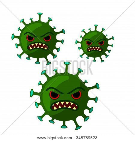 Coronavirus With Angry Facial Expression. Isolated On A White Background. Vector Cartoon Flat Illust