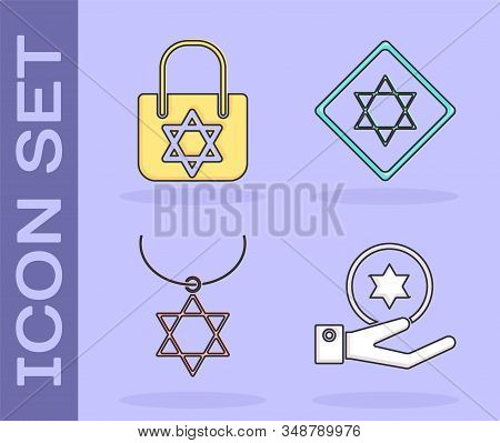 Set Jewish Coin On Hand, Shopping Bag With Star Of David, Star Of David Necklace On Chain And Star O