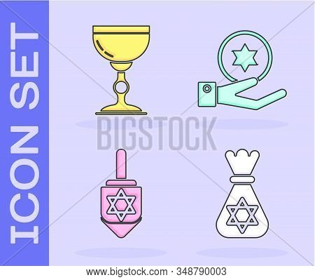 Set Jewish Money Bag With Star Of David, Jewish Goblet, Hanukkah Dreidel And Jewish Coin On Hand Ico