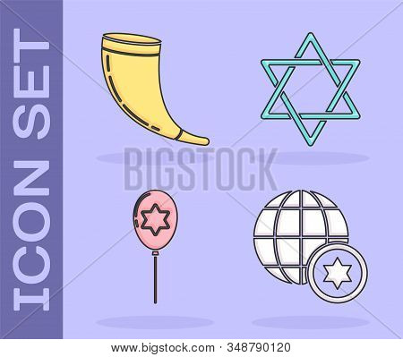 Set World Globe And Israel, Traditional Ram Horn, Shofar, Balloons With Ribbon With Star Of David An
