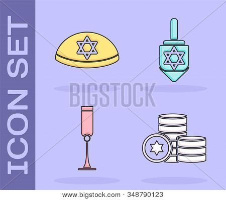 Set Jewish Coin, Jewish Kippah With Star Of David, Jewish Goblet And Hanukkah Dreidel Icon. Vector