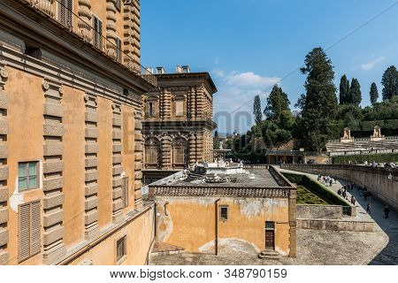 Florence, Italy - 26, March, 2016: Wide Angle Picture Of Fashion Museum Building And The Beautiful G