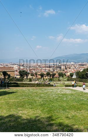 Florence, Italy - 26, March, 2016: Vertical Picture Of Beautiful Sunny Day In The Boboli Gardens In