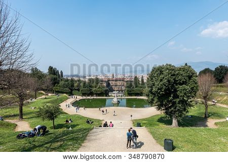 Florence, Italy - 26, March, 2016: Wide Angle Picture Of Amazing View From The Top Of The Boboli Gar