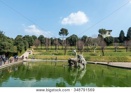 Florence, Italy - 26, March, 2016: Wide Angle Picture Of Fountain Of Neptune In  The Boboli Gardens