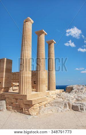 Acropolis Of Lindos - Three Doric Columns Of Ancient Temple Of Goddess Athena (rhodes, Greece)