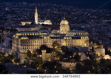 A Night View Of Buda Castle Royal Palace On The Southern Tip Of Castle Hill Int The Buda Side Of Bud