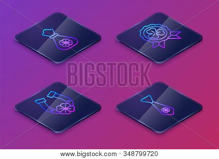 Set Isometric Line Money Bag With Four Leaf Clover, Horseshoe With Four Leaf Clover, Medal With Four