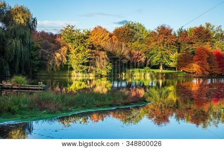 Autumn Around A Lake With Wonderful Colors.