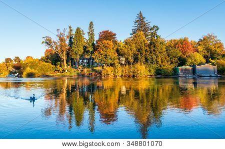 Wonderful Morning Autumn Relection At Lake Taupo Harbor Area.