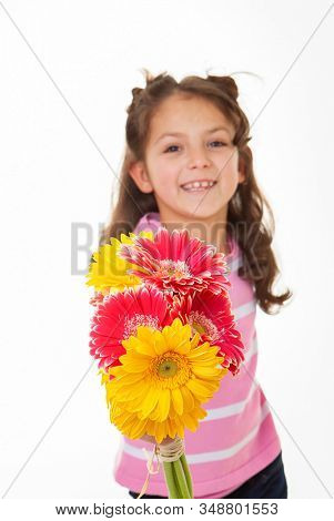 daughter with mothers day flowers for a gift