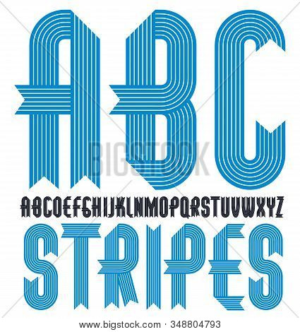 Vector Trendy Vintage Capital English Alphabet Letters Collection. Funky Condensed Bold Font, Typesc