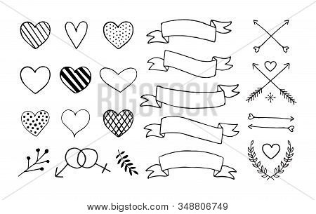Vector Set Of Hand Drawn Doodle Sketch Elements Isolated On White Background. Bundle Of Valentines D