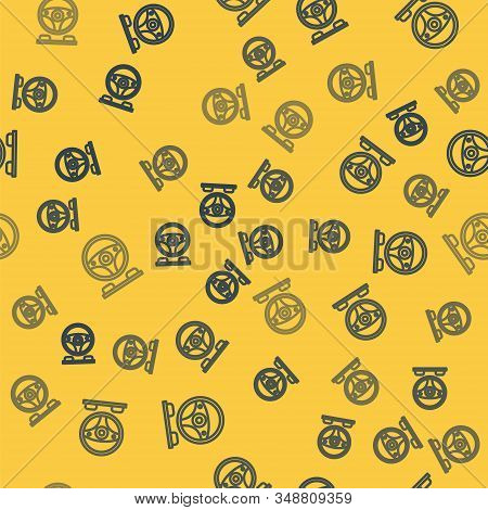 Blue Line Racing Simulator Cockpit Icon Isolated Seamless Pattern On Yellow Background. Gaming Acces