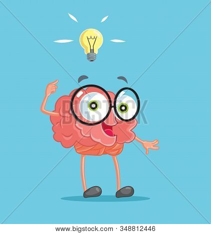 Brain Cartoon Character Having An Idea Conceptual Illustration