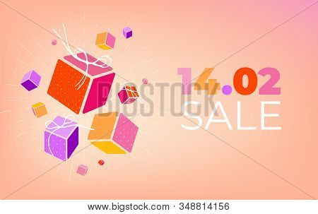 Colorful Set Of 3d Gift Boxes With Thread Bows And Copy Space In Trendy 2020 Colors. Valentines Day